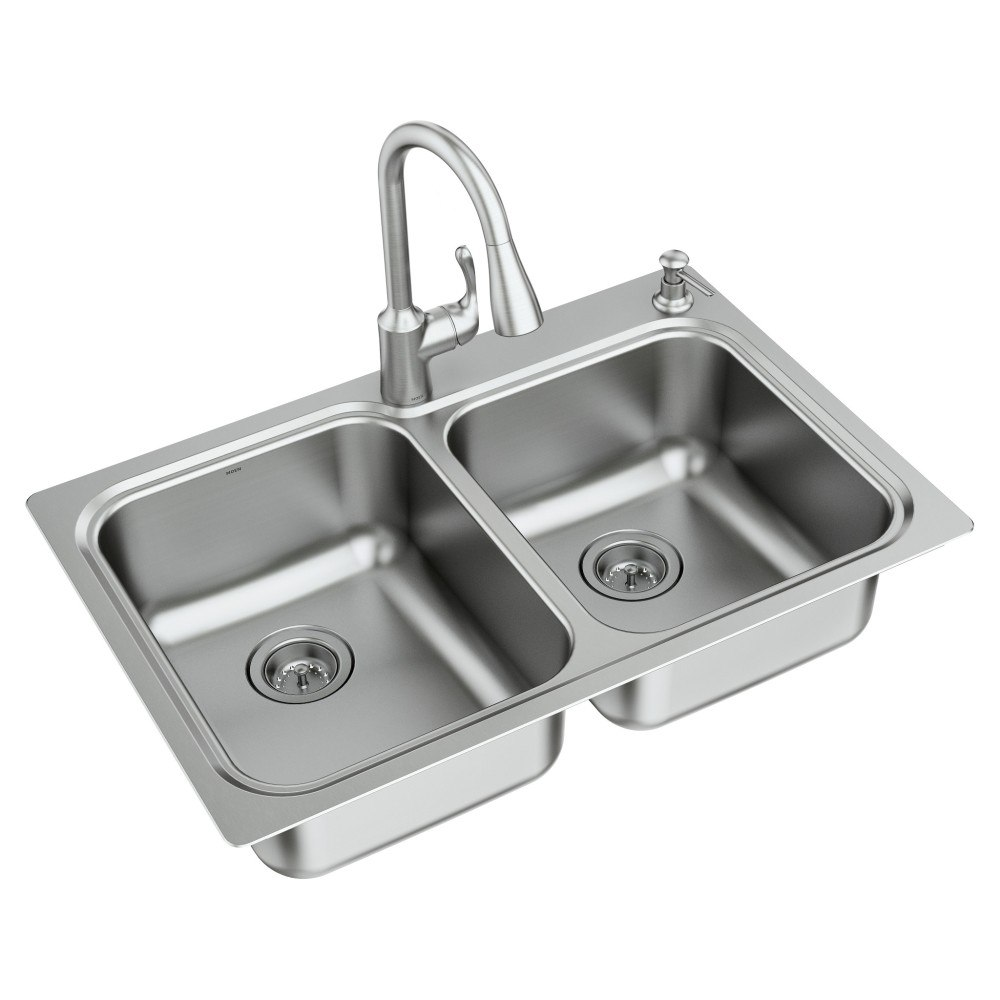 moen 21595 lodi 33 inch 18 gauge double bowl sink and faucet combination