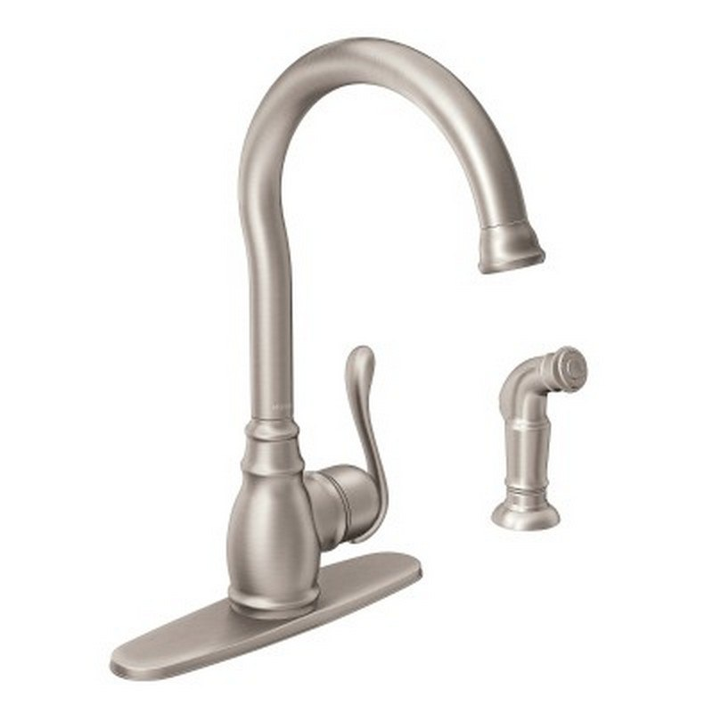 moen 87650srs anabelle one handle high arc kitchen faucet with side spray in spot resist stainless
