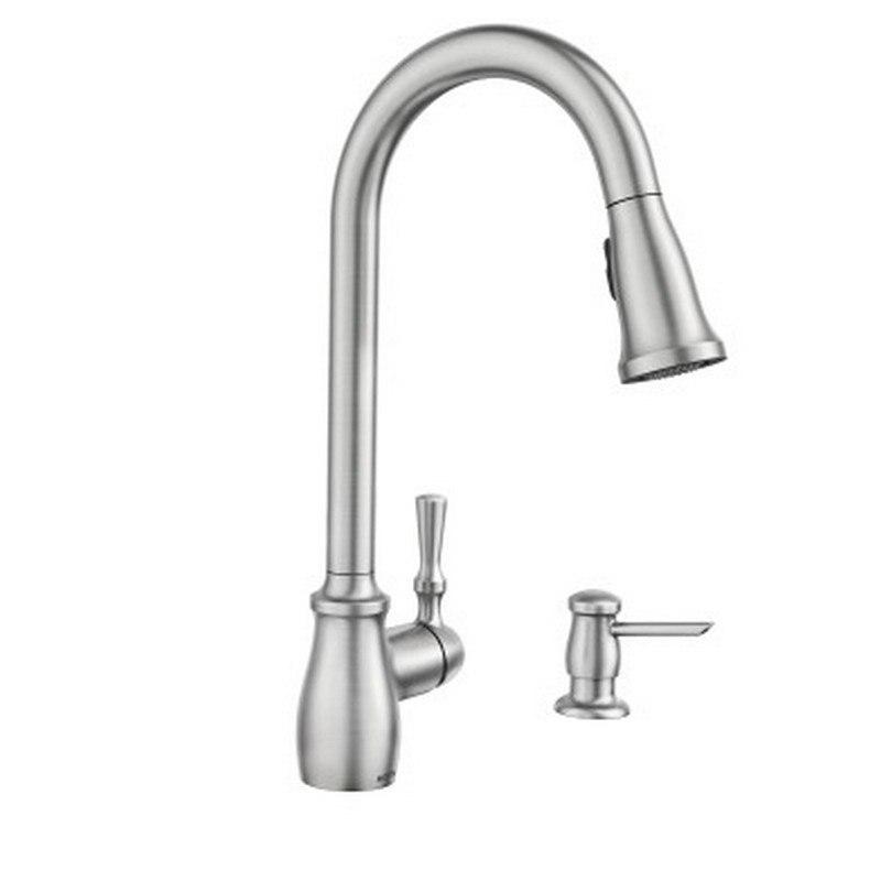 moen 87808srs fieldstone pull down kitchen faucet in spot resist stainless