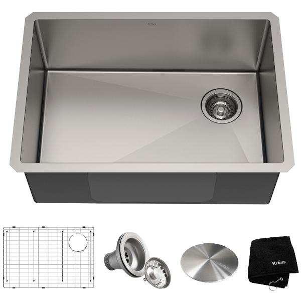 kraus khu110 27 standart pro 27 inch undermount single bowl 16 gauge stainless steel kitchen sink set