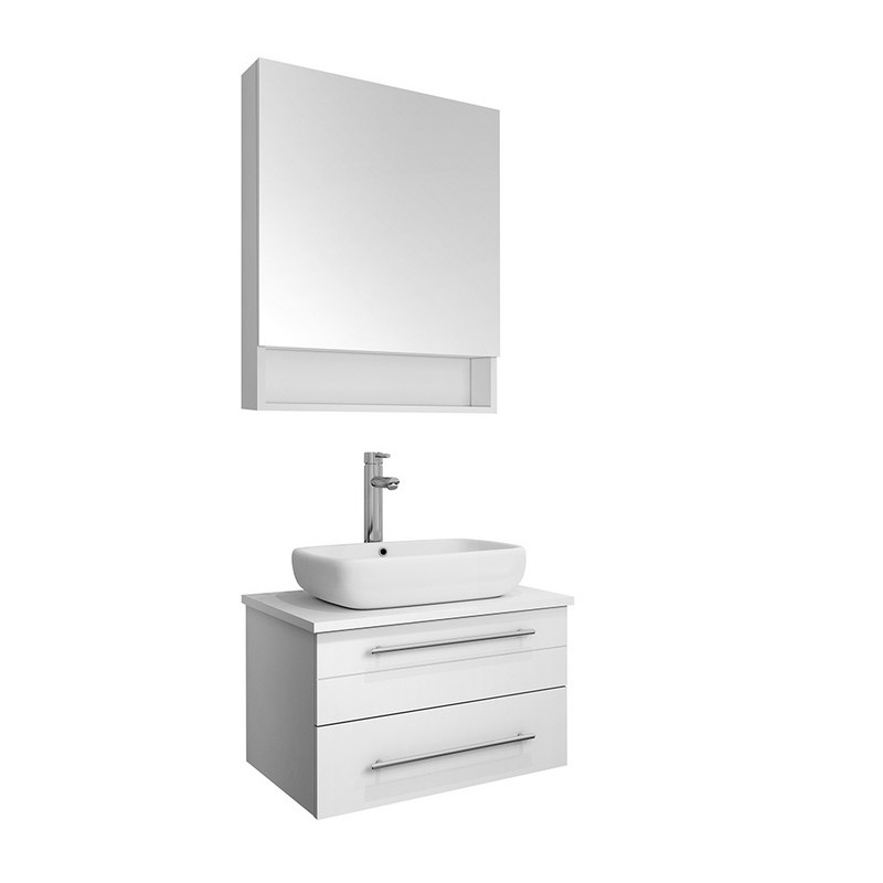 fresca fvn6124wh vsl lucera 24 inch white wall hung vessel sink modern bathroom vanity with medicine cabinet