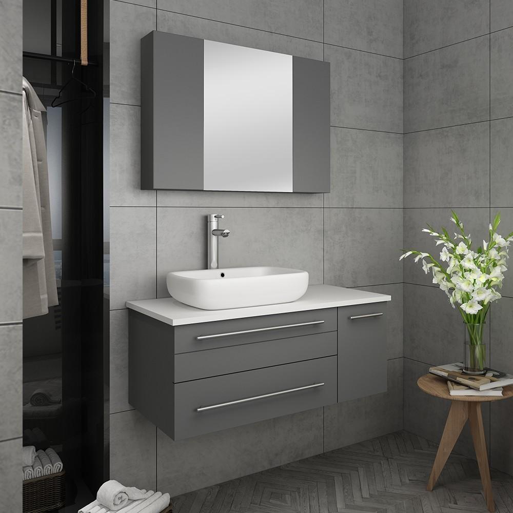 Fresca Fvn6136gr Vsl L Lucera 36 Inch Gray Wall Hung Vessel Sink Modern Bathroom Vanity With Medicine Cabinet Left