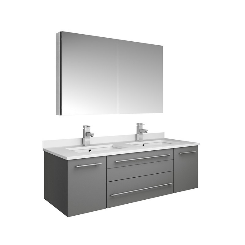 fresca fvn6148gr uns d lucera 48 inch gray wall hung double undermount sink modern bathroom vanity with medicine cabinet