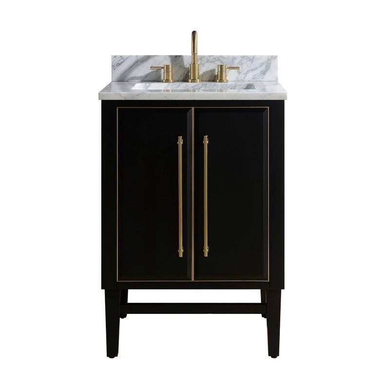 avanity mason vs25 bkg c mason 25 inch vanity combo in black with gold trim and carrara white marble top mason vs25 bkg c masonvs25bkgc