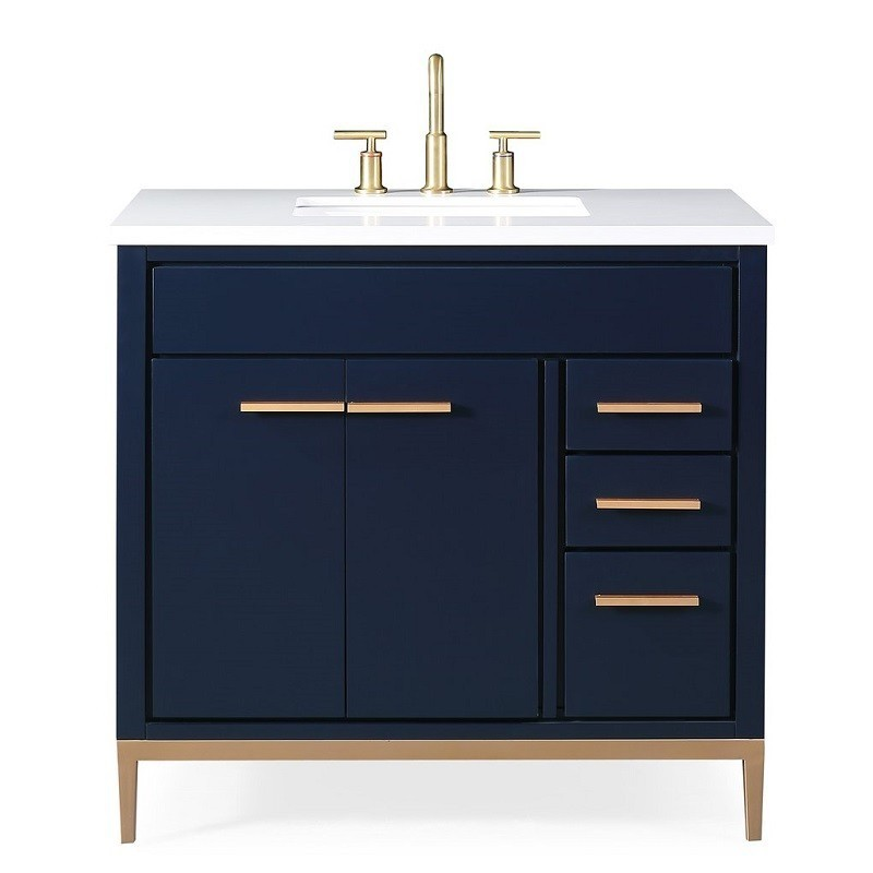 Chans Furniture Tb 9888nb V36 36 Inch Beatrice Bathroom Sink Vanity In Navy Blue