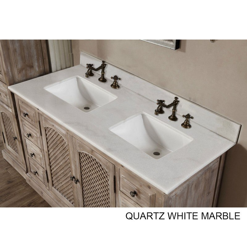 Infurniture Wk8160 Ap Top 60 Inch Solid Recycled Fir Double Sink Vanity With Arctic Pearl