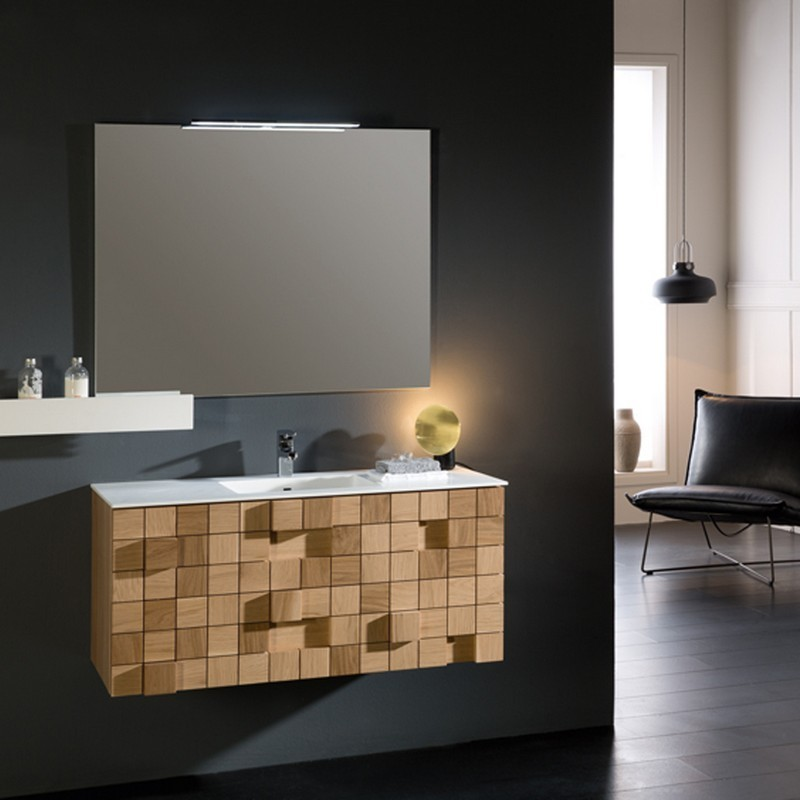 Eviva Evvn112 36oak Mosaic 36 Inch Wall Mounted Bathroom Vanity In Oak With White Integrated Solid