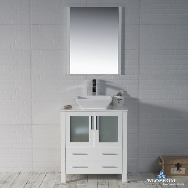 blossom 001 30 01 1616v sydney 30 inch vanity set with vessel sink and mirror in glossy white