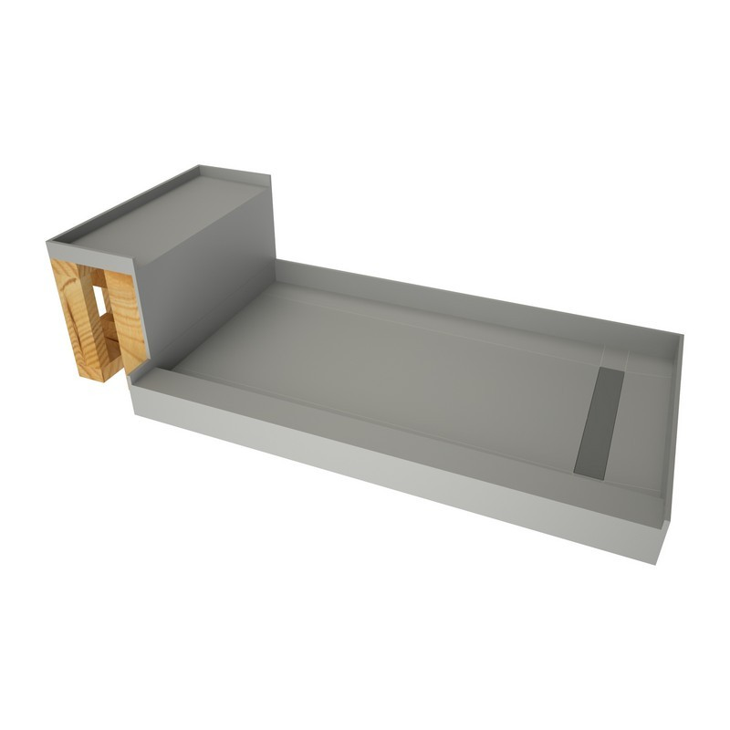 tile redi rt3660r sbn rb36 kit base n bench 36 d x 72 w inch fully integrated shower pan kit with right pvc drain right trench with solid brushed