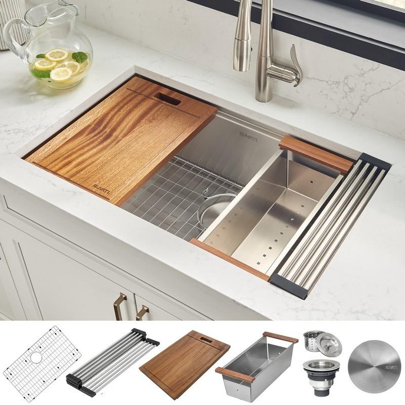 ruvati rvh8310 roma 30 x 19 inch workstation ledge undermount 16 gauge stainless steel single bowl kitchen sink