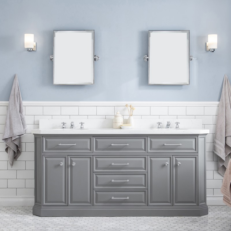 Water Creation Pa72d 0612cg Palace 72 Inch Quartz Carrara Cashmere Grey Bathroom Vanity Set And Faucets In Satin