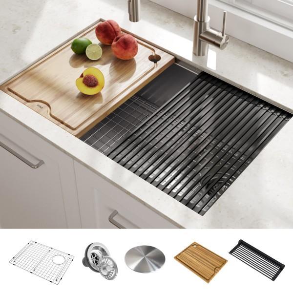 kraus kwu110 27 kore workstation 27 inch undermount 16 gauge single bowl stainless steel kitchen sink with accessories pack of 5