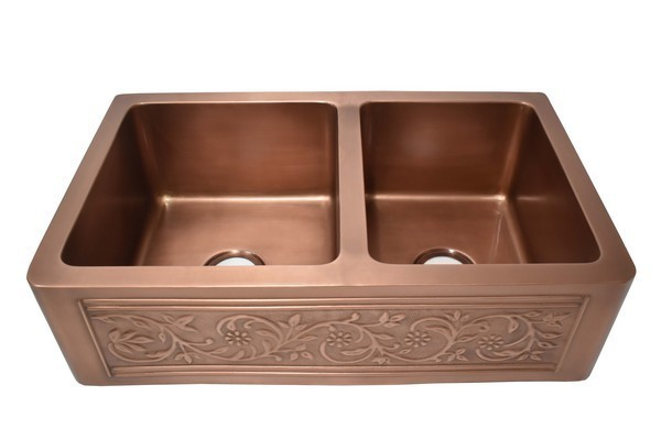 empire industries ve33d versailles 33 inch farmhouse pure copper double bowl kitchen sink with grid and strainer