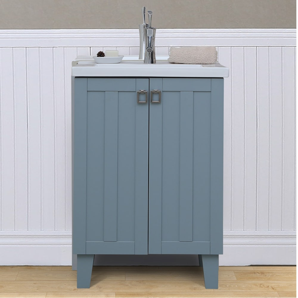 infurniture in3724 bl 24 inch single sink bathroom vanity in blue with thick edge ceramic top