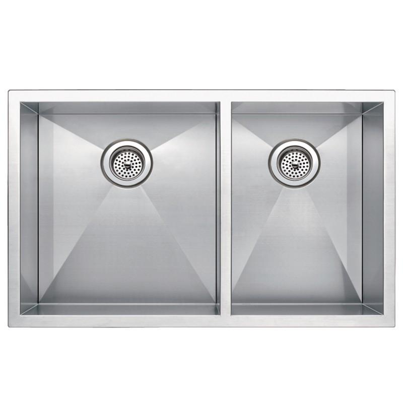 water creation ss u 3320a 33 x 20 inch zero radius 60 40 double bowl stainless steel hand made undermount kitchen sink