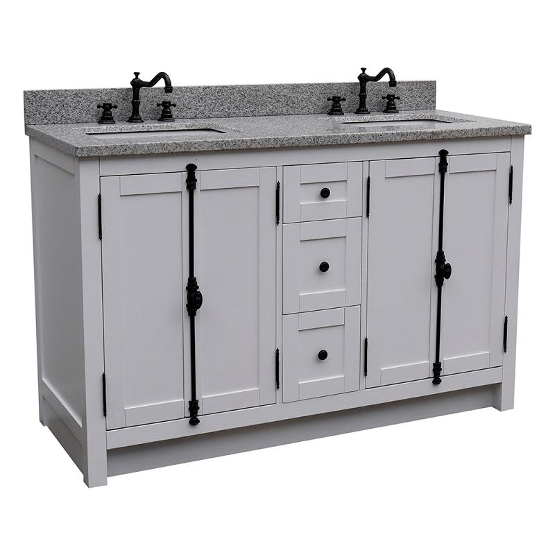 bellaterra 400100 55 ga bg plantation 55 inch double vanity in glacier ash with black granite top and rectangle sink