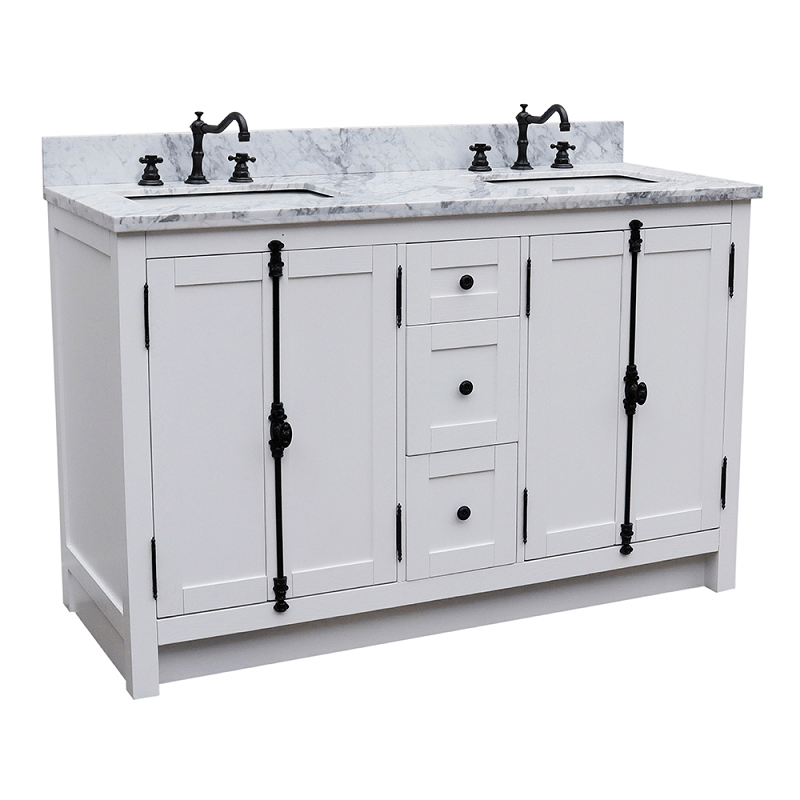 bellaterra 400100 55 ga wm plantation 55 inch double vanity in glacier ash with white marble top and rectangle sink