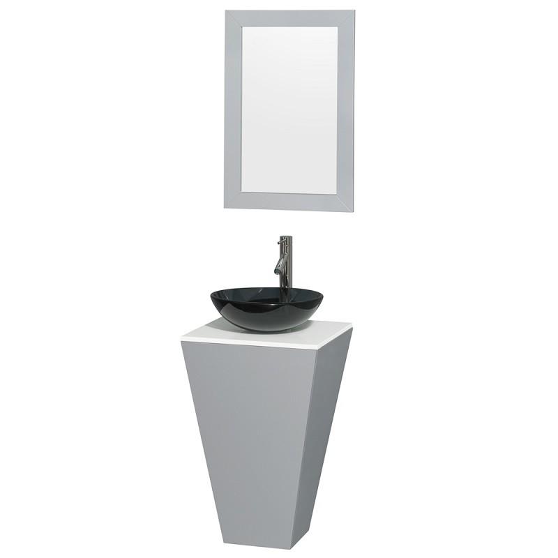 wyndham collection wcscs0420sgywsb15m20 esprit 20 inch pedestal bathroom vanity in gray white man made stone countertop smoke glass sink mirror