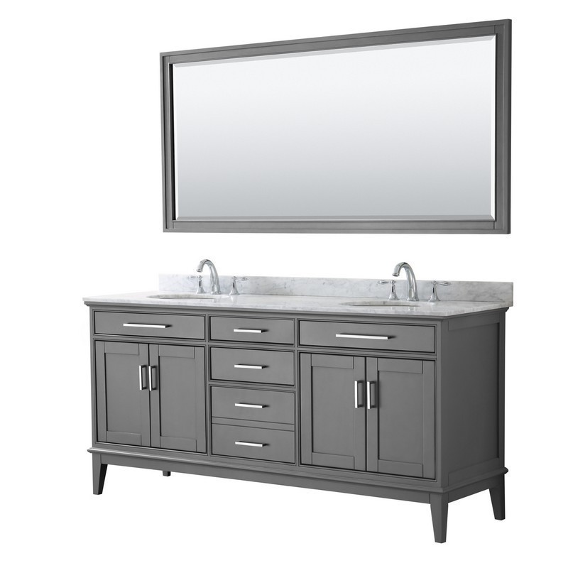 wyndham collection wcv303072dkgcmunom70 margate 72 inch double bathroom vanity in dark gray with white carrara marble countertop undermount oval