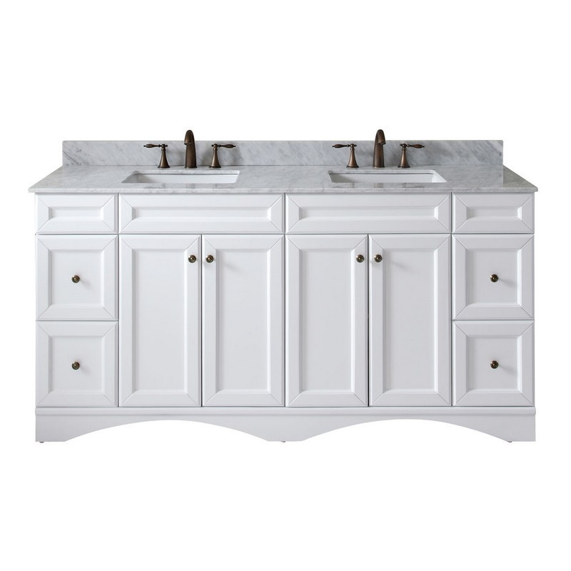 Virtu Usa Ed 25072 Wmsq Wh 002 Nm Talisa 72 Inch Double Bath Vanity In White With Marble Top And Square Sink With