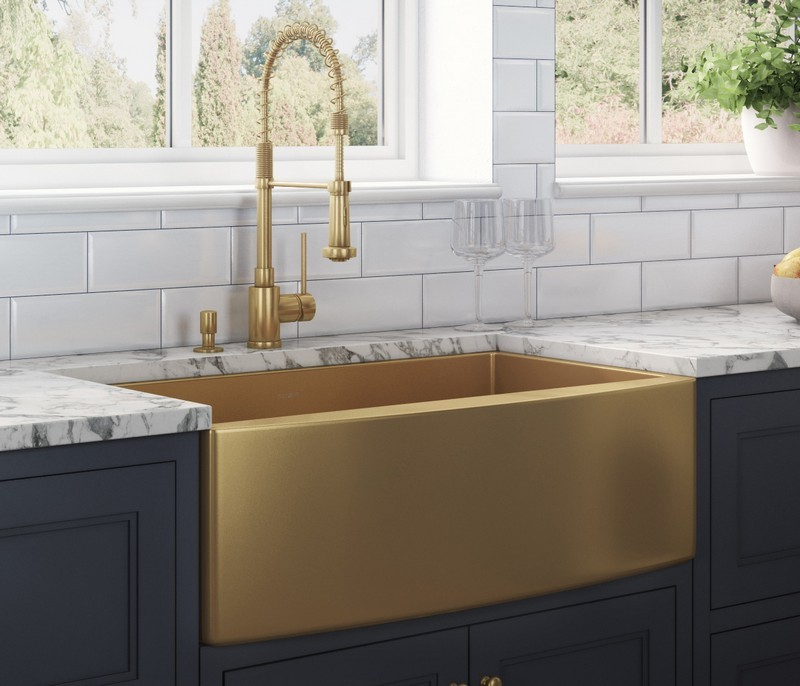 ruvati rvh9733gg terraza 33 x 22 inch apron front farmhouse brass tone matte gold stainless steel single bowl kitchen sink