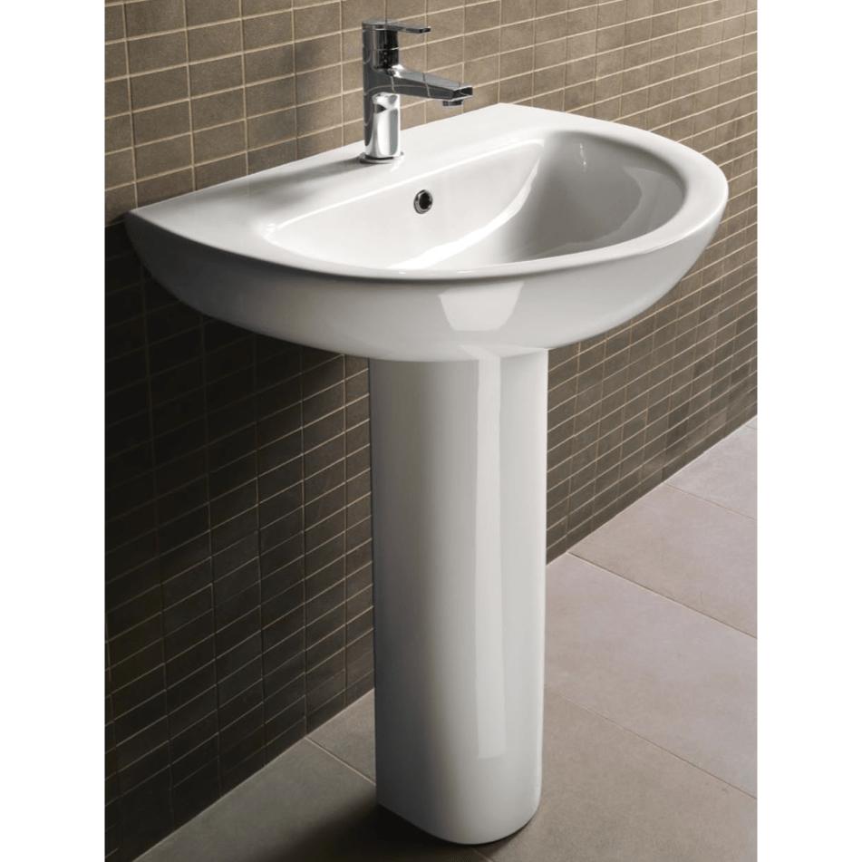 gsi mcity3012 one hole city 23 inch round white ceramic pedestal bathroom sink