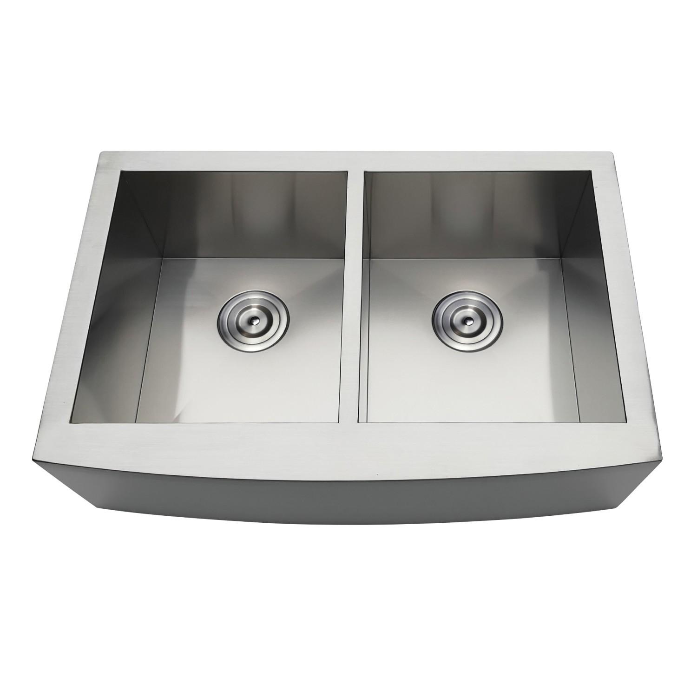 Kingston Brass Gktdf30209 Gourmetier Uptowne 30 Inch Drop In Stainless Steel Double Bowl Farmhouse Kitchen Sink