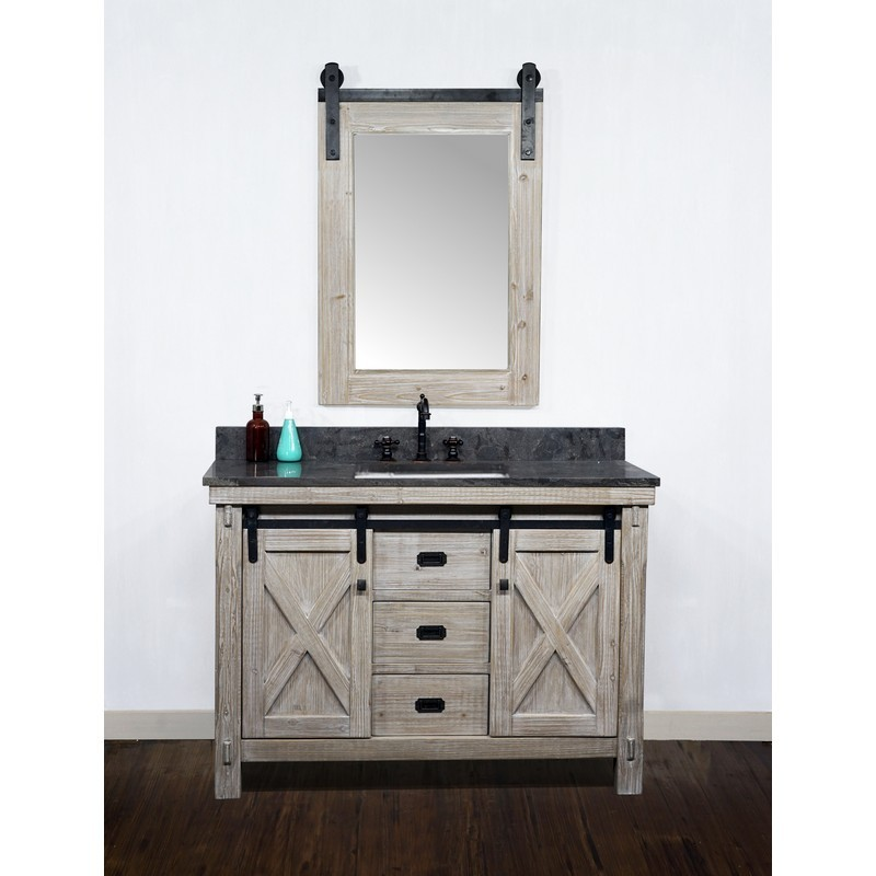 infurniture wk8548 wk sq top 48 inch rustic solid fir barn door style single sink vanity with limestone top with rectangular sink no faucet in