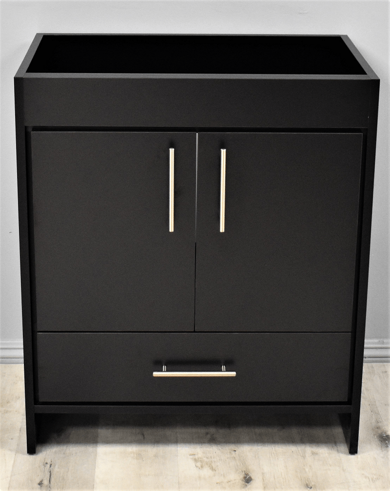 Mtd Volpa Usa Mtd 330bk 0 Rio 30 Inch Modern Bathroom Vanity In Black With Satin Nickel Thin Hardware Cabinet Only