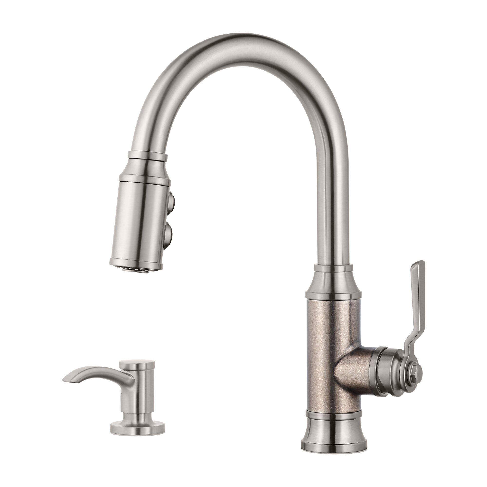 pfister f 529 7bcse breckenridge 15 1 4 inch single lever handle deck mount pull down kitchen faucet with soap dispenser stainless steel