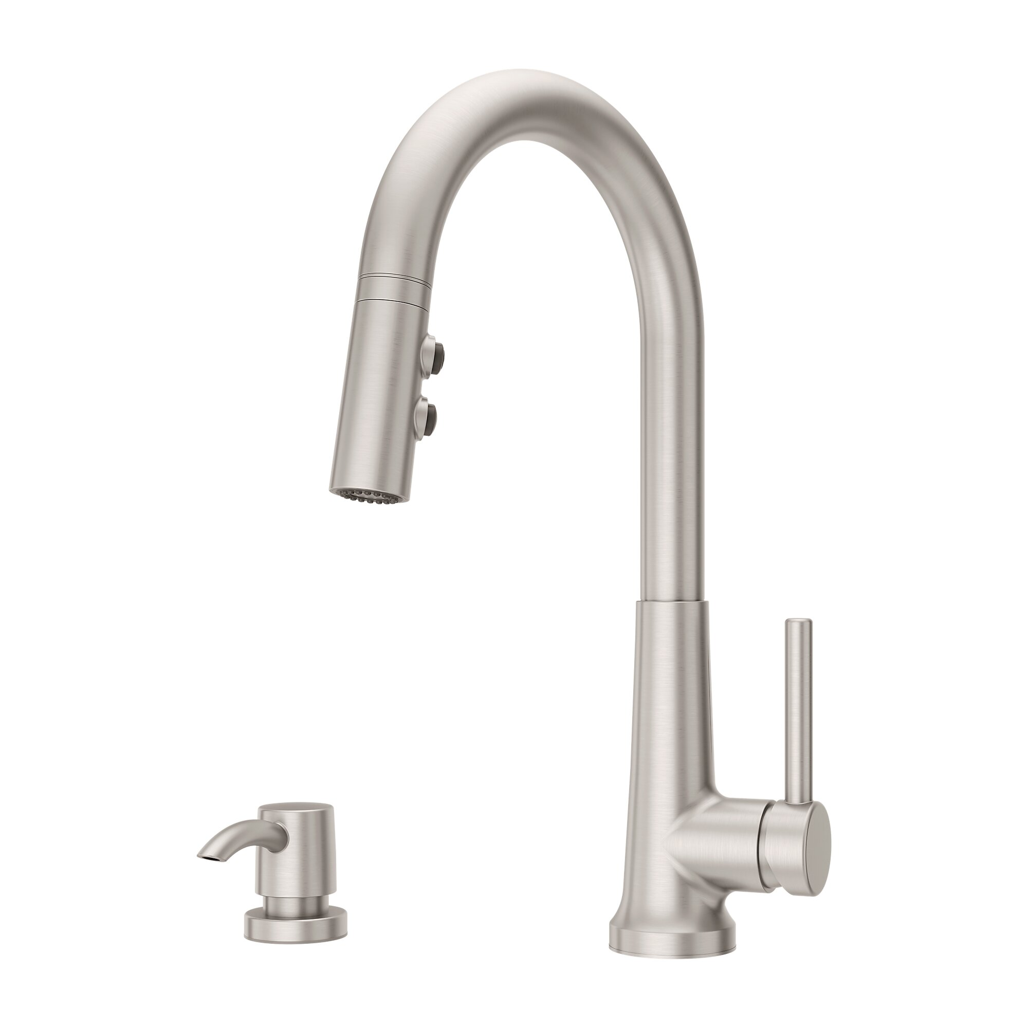 pfister f 529 7cegs crete 15 3 8 inch single lever handle deck mount pull down kitchen faucet with soap dispenser spot defense stainless steel