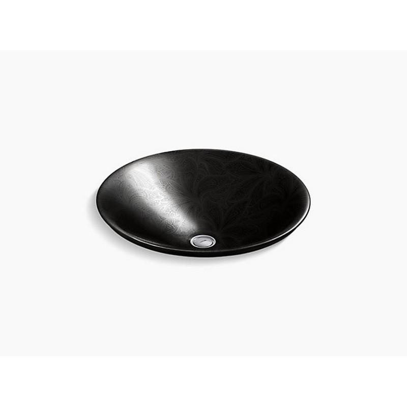 kohler k 75748 fp2 7 sartorial 17 11 16 inch paisley carillon round vessel bathroom sink in black
