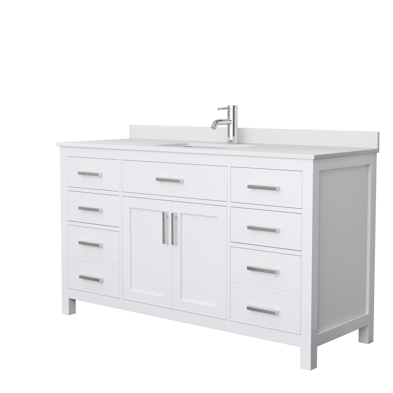 wyndham collection wcg242460swhwcunsmxx beckett 60 inch single bathroom vanity in white white cultured marble countertop undermount square sink no