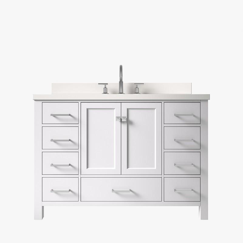 ariel a055swqrvo ariel cambridge 55 inch single rectangle sink vanity with white quartz countertop