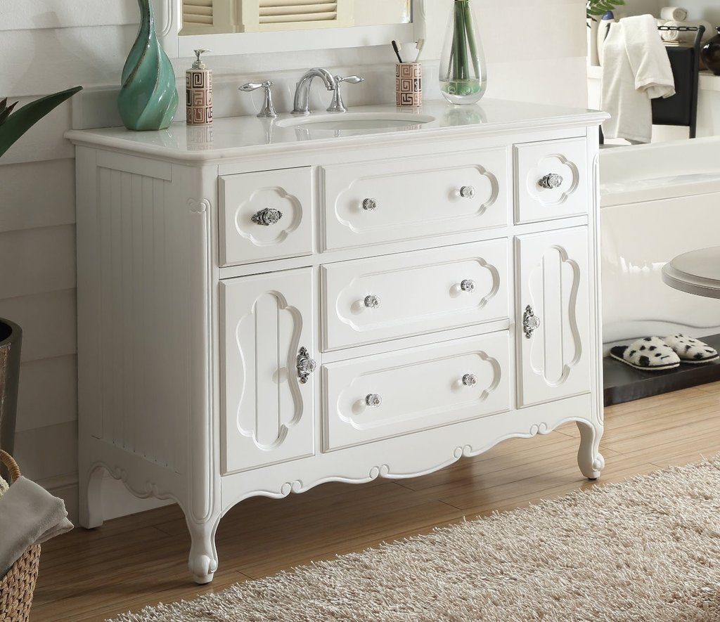 Chans Furniture Gd 1522w 48 Benton Collection 48 Inch Victorian Cottage Style Knoxville Bathroom Sink Vanity