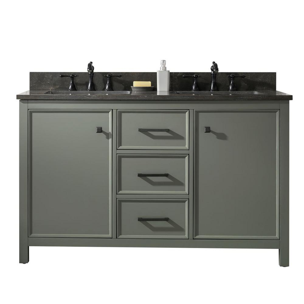 legion furniture wlf2254 vg 54 inch vogue green finish double sink vanity cabinet with carrara white top