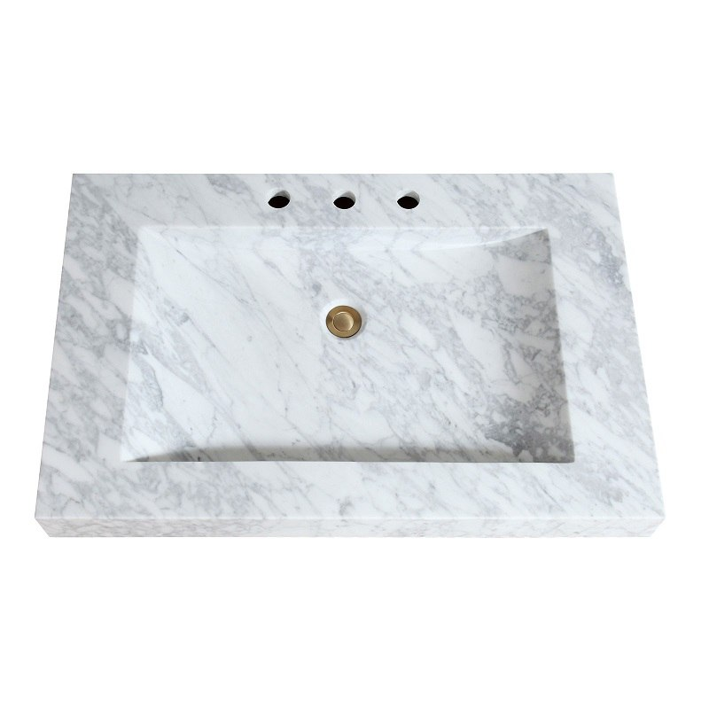 avanity sit33cw 33 inch stone integrated sink top in carrara white marble