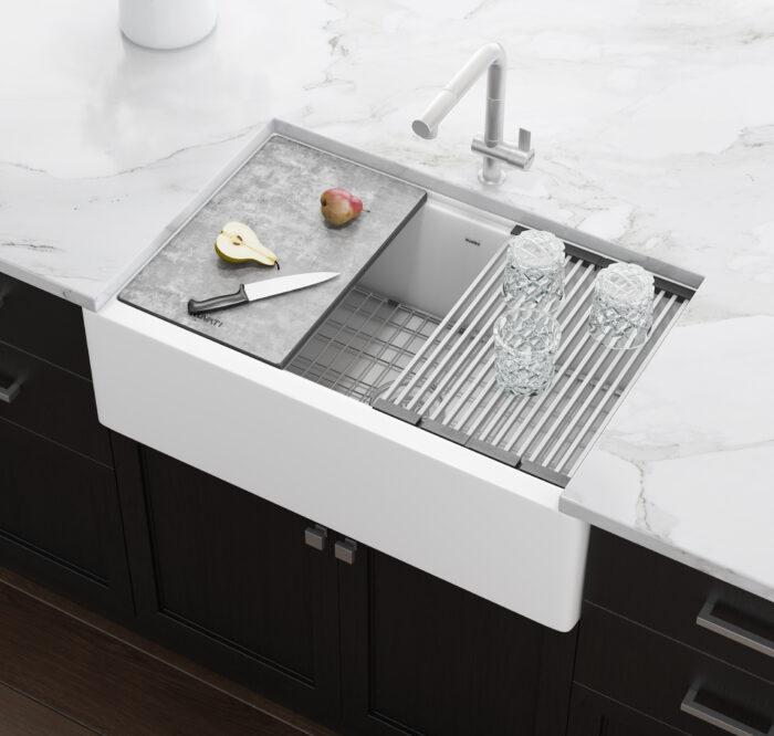 ruvati rvg1533wh epicast 33 x 19 inch granite farmhouse workstation apron front composite kitchen sink white