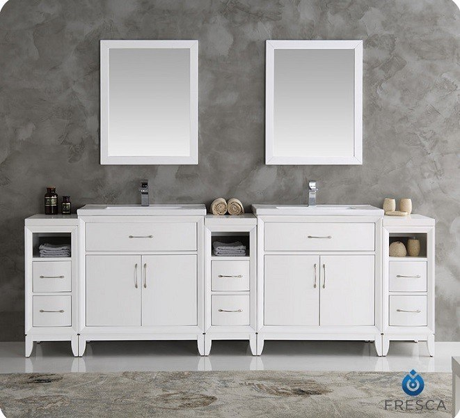Fresca Fvn21 96wh Cambridge 96 Inch White Double Sink Traditional Bathroom Vanity With Mirrors