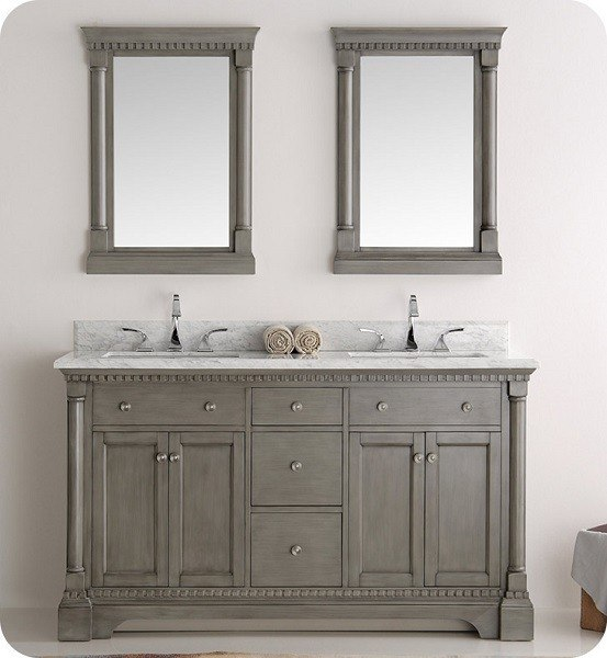 fresca fvn2260sa kingston 60 inch antique silver double sink traditional bathroom vanity with mirrors