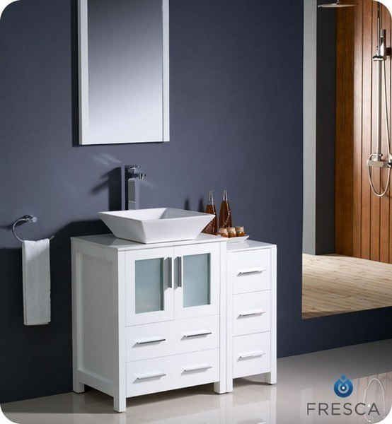 fresca fvn62 2412wh vsl torino 36 inch white modern bathroom vanity w side cabinet vessel sink fvn62 2412whvsl