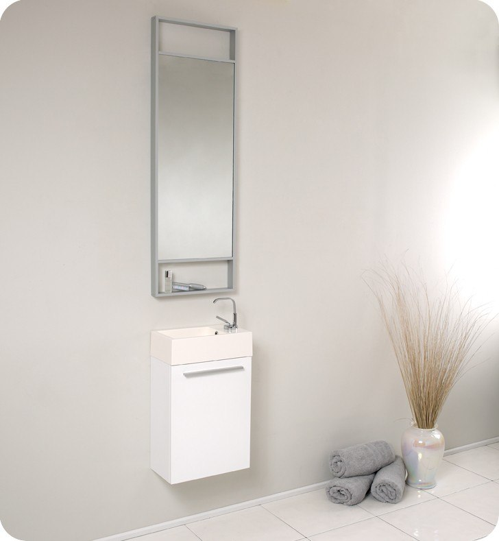 Fvn8002wh Pulito 15 5 Inch Small White Modern Bathroom Vanity W Tall Mirror Fvn8002wh Fst8090wh Pulito 15 5 Inch