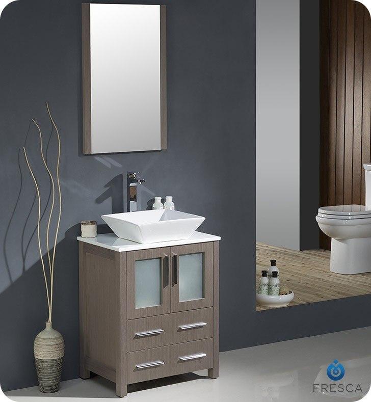fresca fvn6224go vsl torino 24 inch gray oak modern bathroom vanity w vessel sink