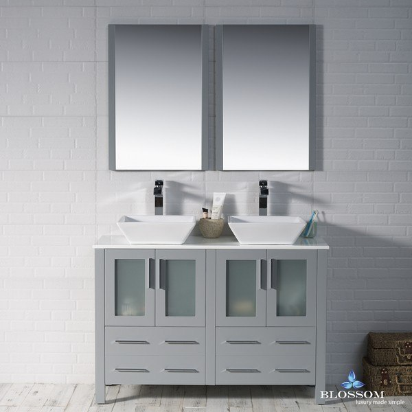 blossom 001 48 15 d 1616v sydney 48 inch double vanity set with vessel sinks and mirrors in metal grey