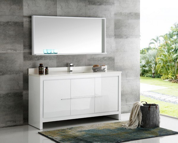 Fvn8119wh S Trieste Allier 60 Inch White Modern Single Sink Bathroom Vanity With Mirror Fvn8119wh S Fst8130wh