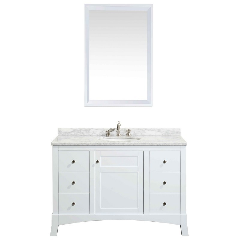 eviva evvn514 42 new york 42 inch bathroom vanity with white marble carrera counter top and sink