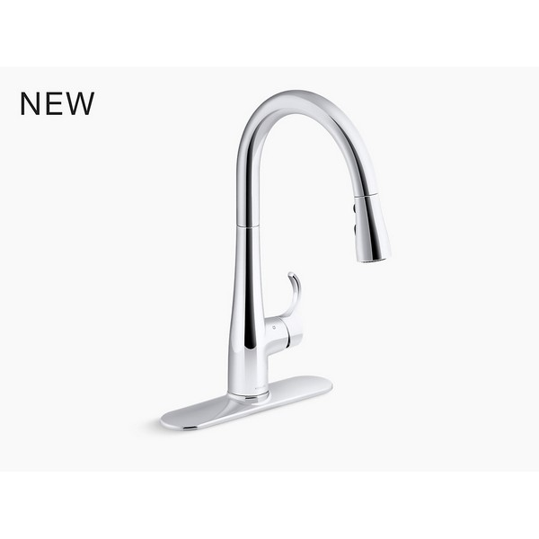 kohler k 22036 simplice 1 5 gpm single hole pull down kitchen faucet with docknetik sweep spray boost temperature memory and touchless response