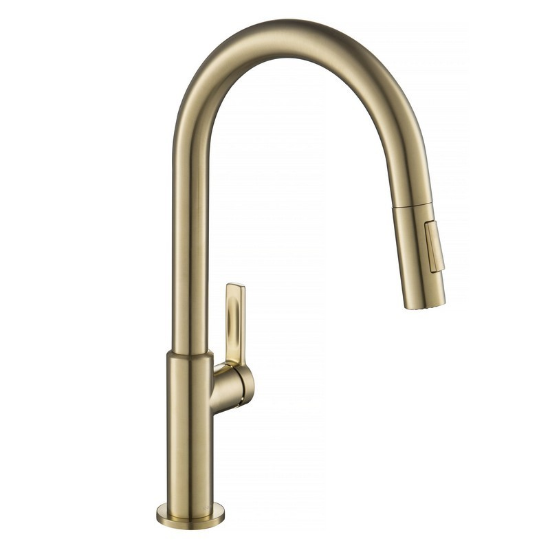 kraus kpf 2820sfacb oletto single handle pull down kitchen faucet spot free antique champagne br