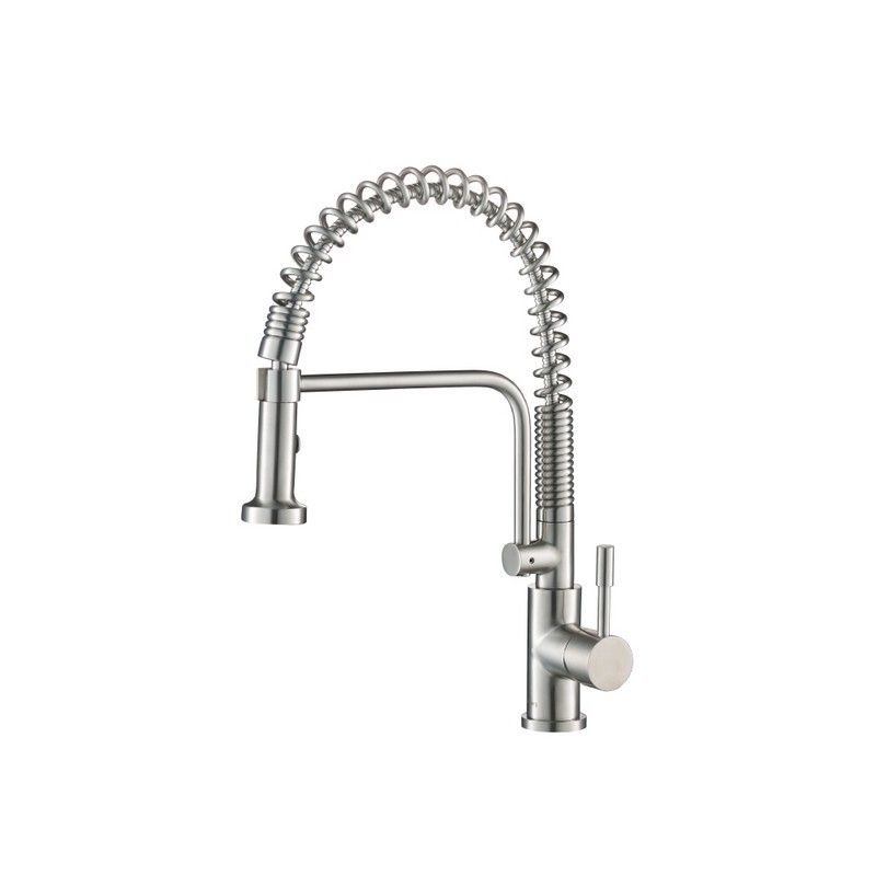 isenberg k 1200 caso semi professional dual spray stainless steel kitchen faucet with pull out in stainless steel