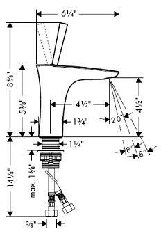 Hansgrohe 15070 PuraVida Single-Hole Faucet w/o Pop-Up
